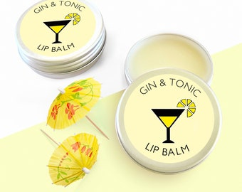 Gin & Tonic Lip Balm with the real flavours of your favourite Gin and Tonic alcohol beverage. Gin Gift Idea, Gifts For Her, Distance Gift