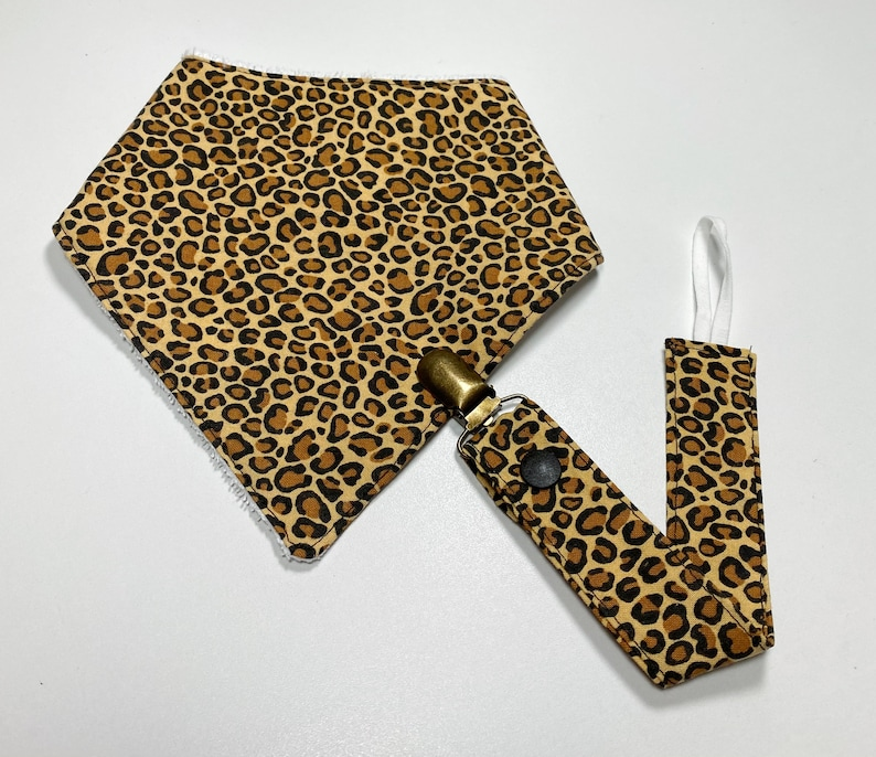 Binky Clip Washable Pacifier Clip Pacifier Holder   Cheetah Print