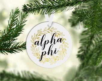 Alpha Phi Sorority Ornament Greek Letters Gold Glitter Optional Personalization on Back