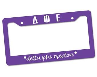 DPhiE Delta Phi Epsilon Letters Script Aluminum License Plate Frame