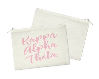 8f2cc2f1fe KAO Kappa Alpha Theta Script Canvas Cosmetic Bag Sorority Zipper Pouch