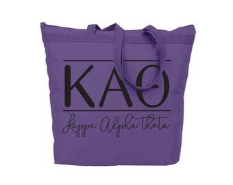 KAO Kappa Alpha Theta Modera Tote Sorority Gift Sorority Tote Choose Your Colors!