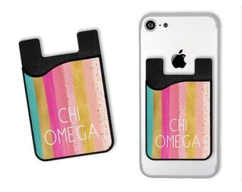 441e2c9410 ChiO Chi Omega Bright Stripes Cell Phone Card Caddy