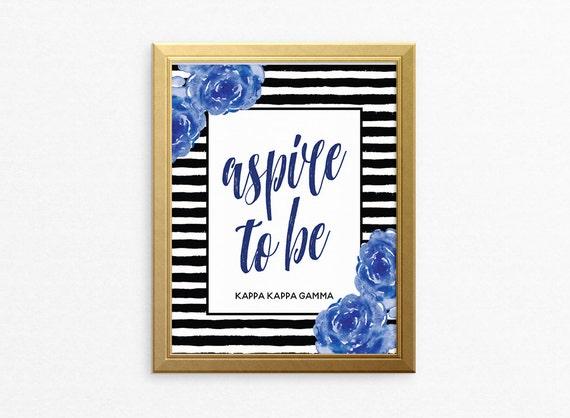 Kkg Kappa Kappa Gamma Striped Floral Motto Ready To Frame Etsy
