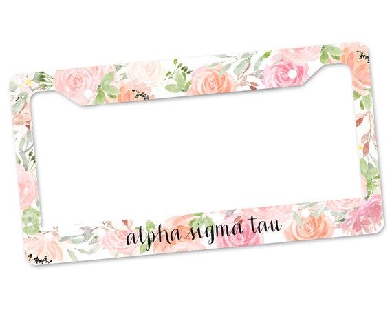 Matte Pink Officially Licensed Alpha Sigma Tau License Plate Frame