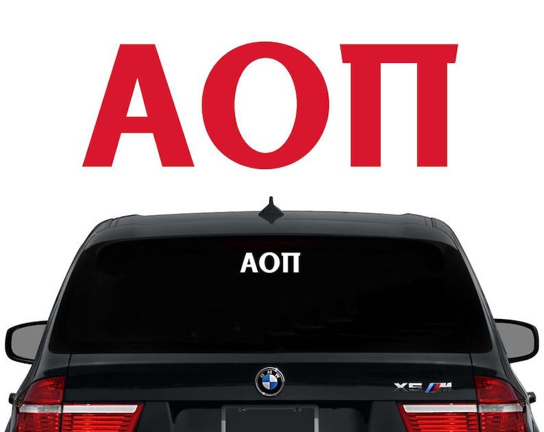 AOII Alpha Omicron Pi Greek Letters Sorority Decal Laptop image 0