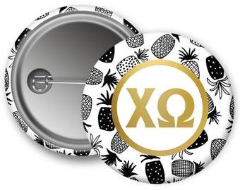 "ChiO Chi Omega Faux Gold Foil Pineapple Single or Bulk 2.25"" Pinback Button"