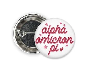 "AOII Alpha Omicron Pi Star Single or Bulk 2.25"" Greek Pinback Sorority Button"