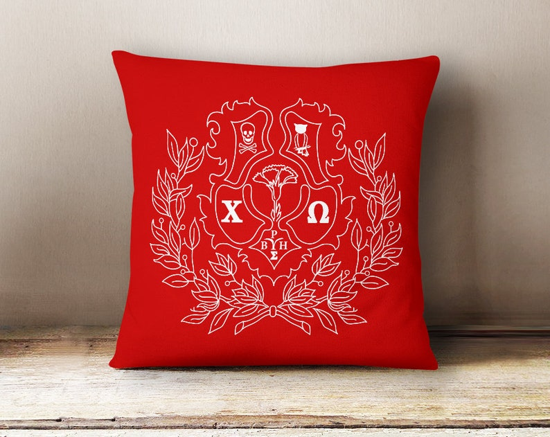 ChiO Chi Omega Crest Pillow Choose Your Pillow Color