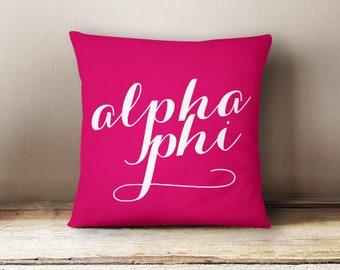 Alpha Phi Script Pillow Choose Your Pillow Color