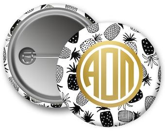 "AOII Alpha Omicron Pi Faux Gold Foil Pineapple Single or Bulk 2.25"" Pinback Button"