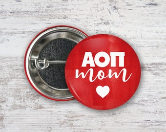 "AOII Alpha Omicron Pi Watercolor Mom Heart Single or Bulk 2.25"" Pinback Button"