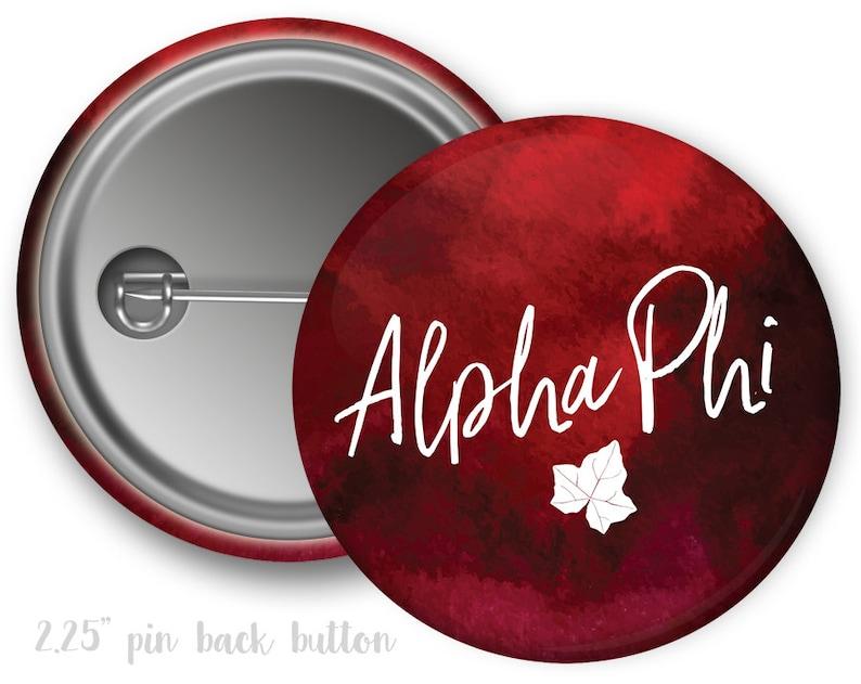 Alpha Phi Watercolor Script Single or Bulk 2.25 Pinback Button