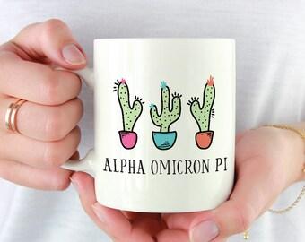 AOII Alpha Omicron Pi Cactus Trio Mug Sorority Coffee Mug