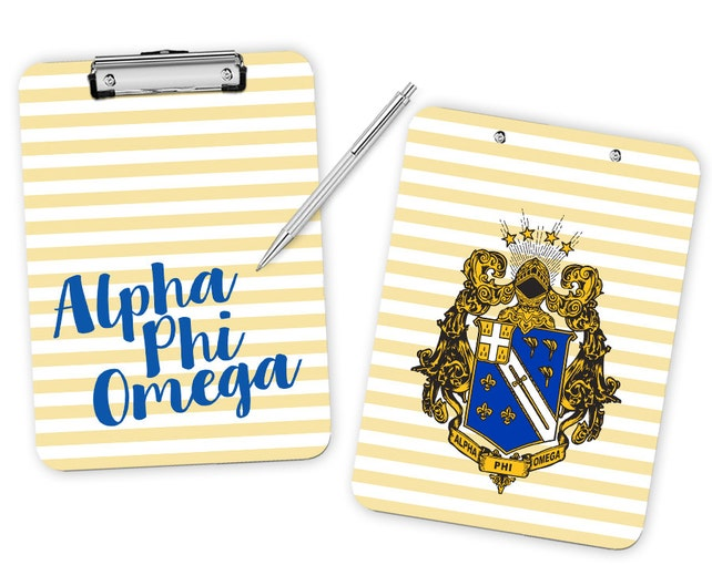Aphio Alpha Phi Omega Striped Crest Fraternity Clipboard Etsy