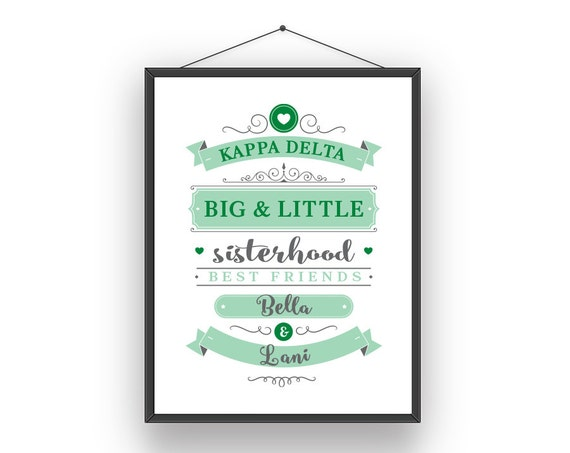 KD Kappa Delta Big Little Sorority Sister Print - Ready To Frame Customize  With Names
