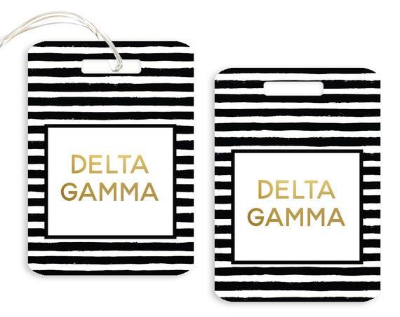 Phi Sigma Sigma Personalized Striped Luggage Tag