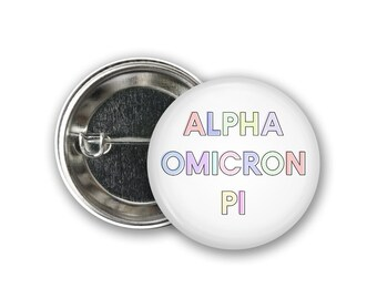 "AOII Alpha Omicron Pi Pastel Letters Outline Single or Bulk 2.25"" Greek Pinback Sorority Button"