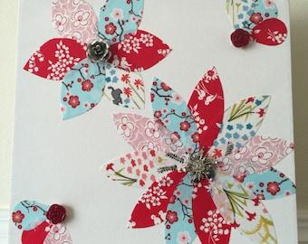 Handmade Fabric Flower Canvas Wall Art