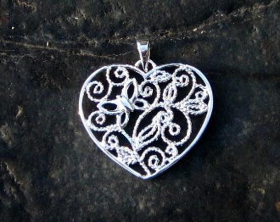 Sterling Silver Filigree Heart Pendant - #307