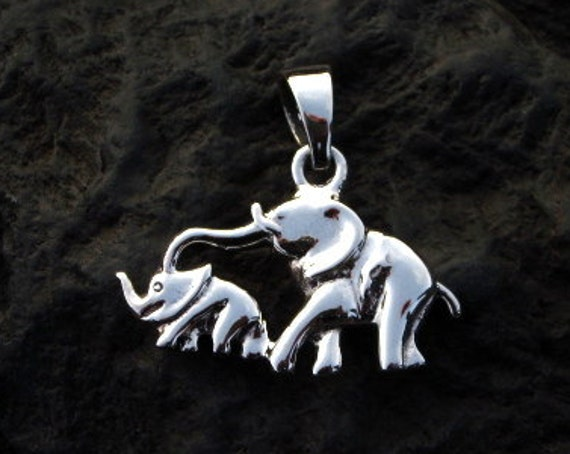 Sterling Silver Mommy & Baby Elephant Pendant - #319