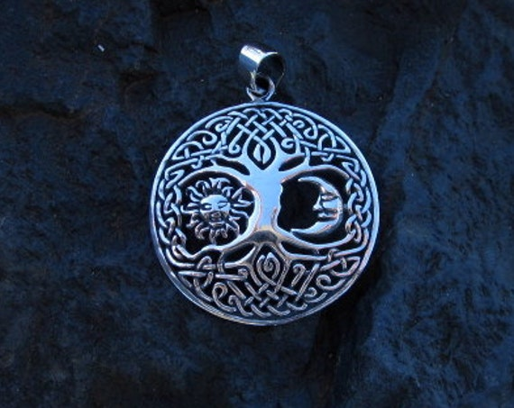 Sterling Silver Sun & Moon Celtic Tree of Life Pendant - #465