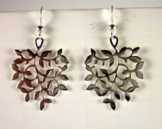Sterling Silver Leaf Earrings - #411
