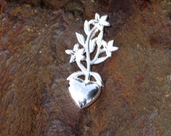 Sterling Silver Flowering Heart Pendant - #317