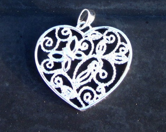 Sterling Silver Filigree Heart Pendant - #307