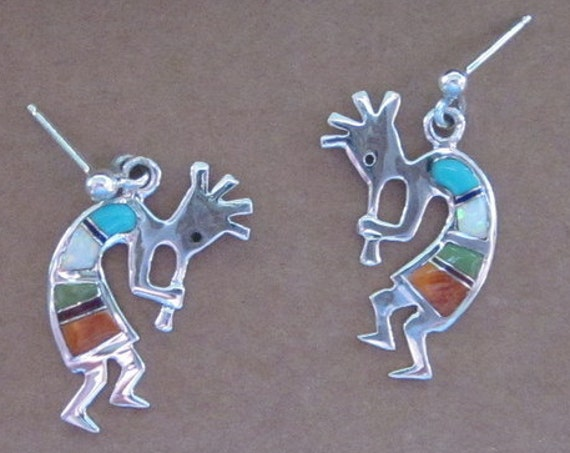 Multi Color Inlay & Sterling Siver Kokopelli Post Earrings - #481