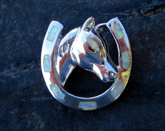 Sterling Silver and Opal Horseshoe Pendant - #370
