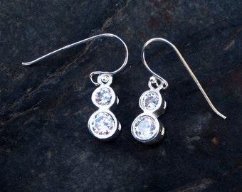 Cubic Zirconia & Sterling Silver Earrings - #176