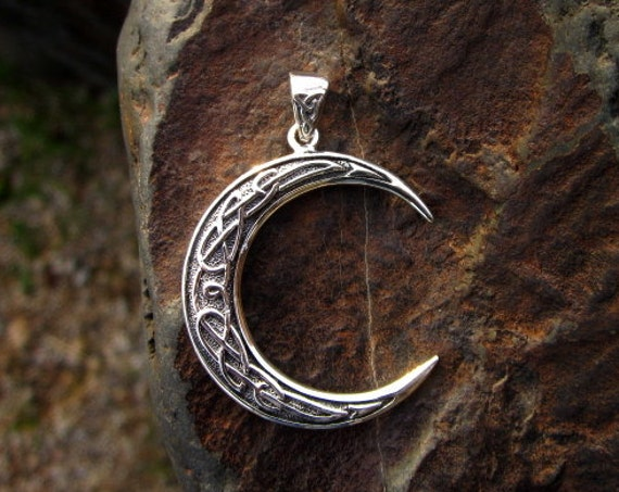 Sterling Silver Celtic Crescent Moon Pendant - #287