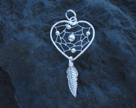 Sterling Silver Heart Dream Catcher Pendant - #366