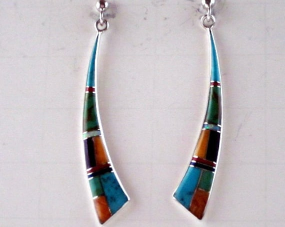 Multi-colored Inlay and Sterling Silver Southwestern Earrings - #478
