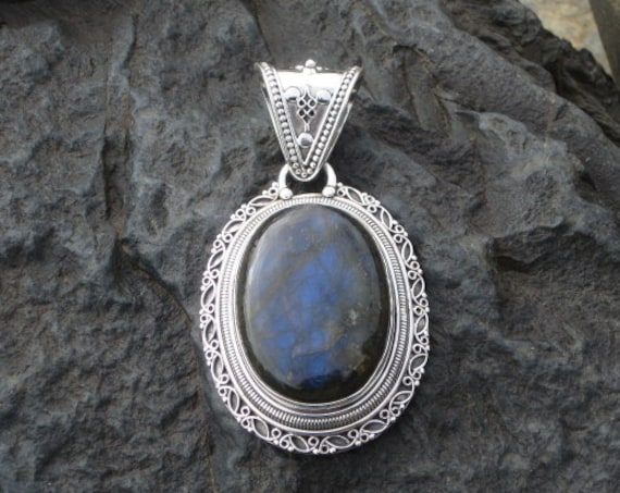 Labradorite & Sterling Silver Large Oval Pendant - #515