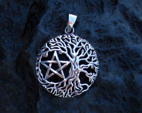 Sterling Silver Tree Of Life Pentagram Pendant - #476