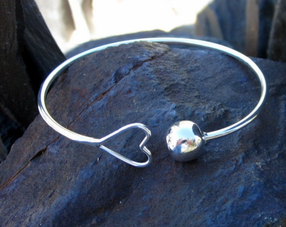 Sterling Silver Heart & Ball Cuff Bracelet - #373