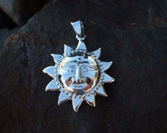 Sterling Silver Large Sun Pendant - #469