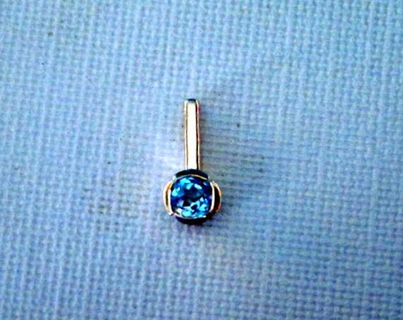 Blue Topaz & Sterling Silver Pendant - #34