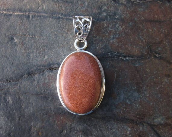 Gold Stone and Sterling Silver Pendant - #500