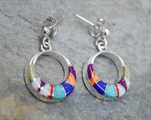 Multi Color Inlay and Sterling Silver Round Earrings - #611