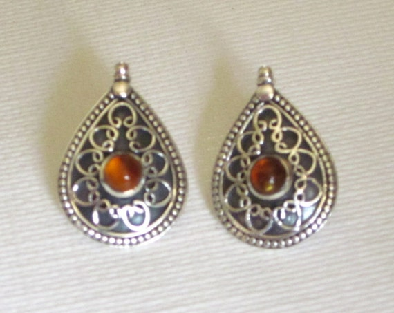 Amber & Sterling Silver Filigree Teardrop Earrings - #4