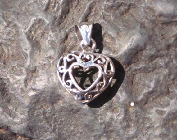 Sterling Silver Antiqued Filigree Open Heart Pendant - # 1
