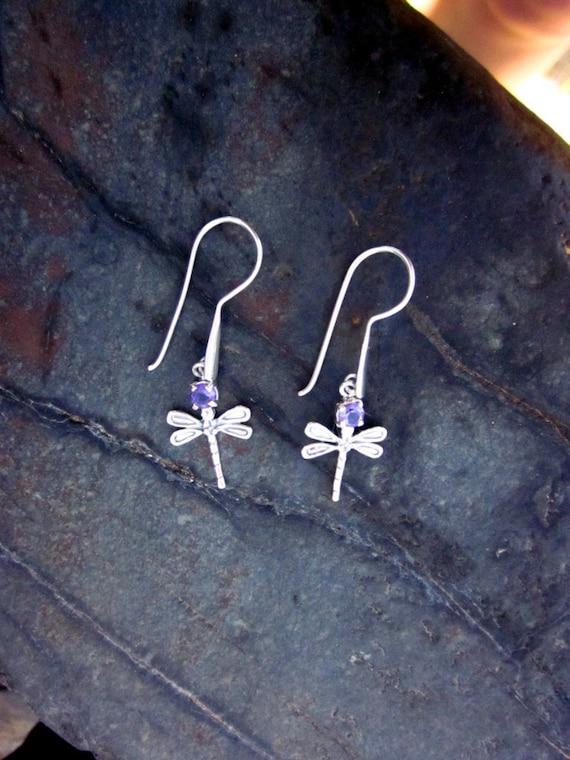 Amethyst & Antiqued Sterling Silver Dragonfly Earrings- #12 February Birthstone