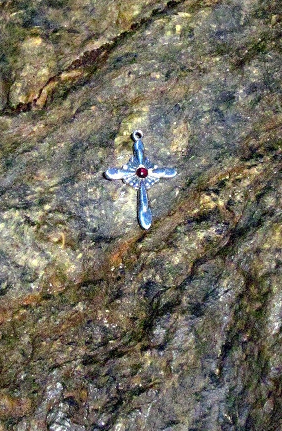 Garnet & Sterling Silver Cross - #333