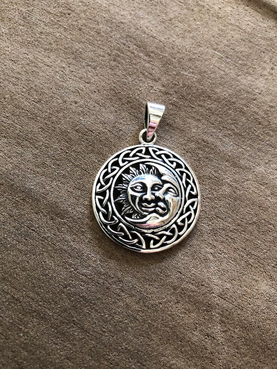 Sterling Silver Sun & Moon Pendant