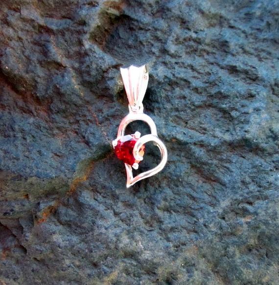 Garnet & Sterling Silver Heart Pendant - #80