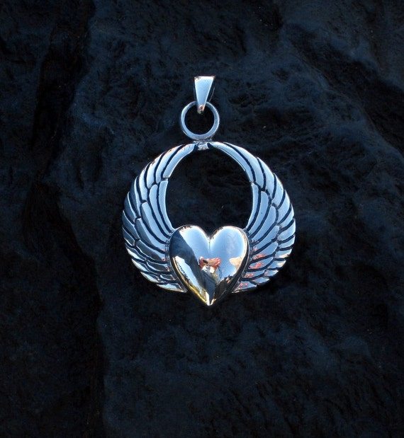 Sterling Silver Winged Heart Pendant - #474
