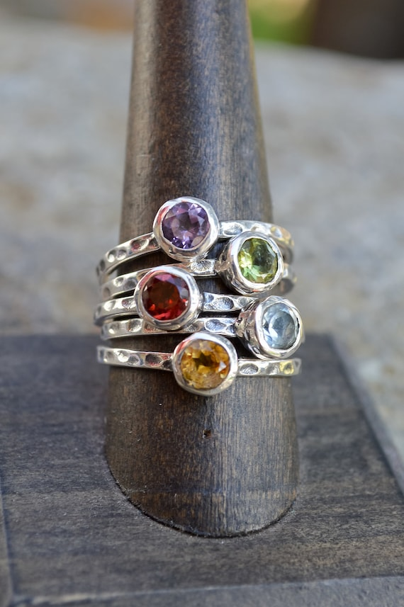 Stackable Sterling Silver Rings with Assorted Stones - #150